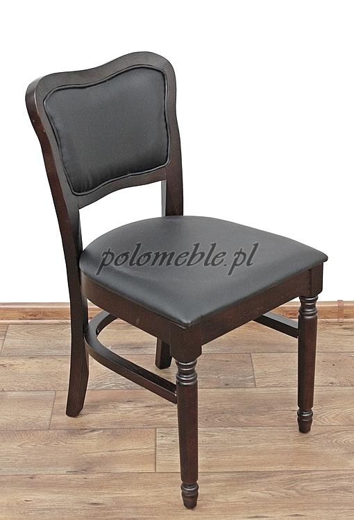 Stylowe Drewniane Krzesło Ze Skórzaną Tapicerką